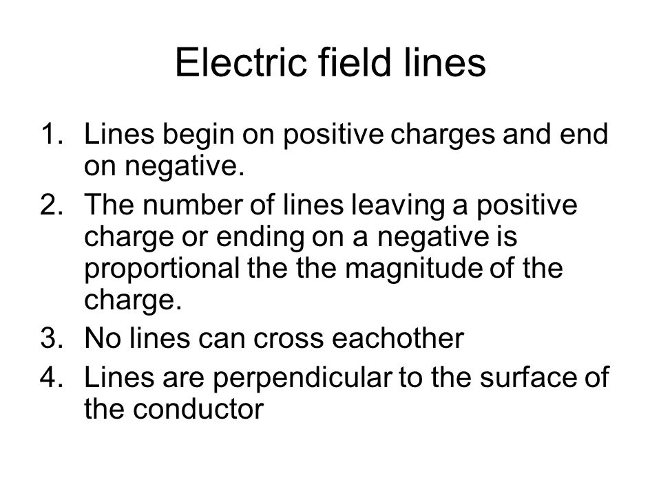 Electric field lines 1.Lines begin on positive charges and end on negative. 2.The number of lines leaving a positive charge or ending on a negative is