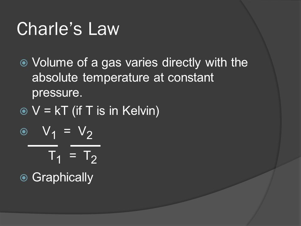 Charles Law Volume of a gas varies directly with the absolute temperature at constant pressure. V = kT (if T is in Kelvin) V 1 = V 2 T 1 = T 2 Graphic