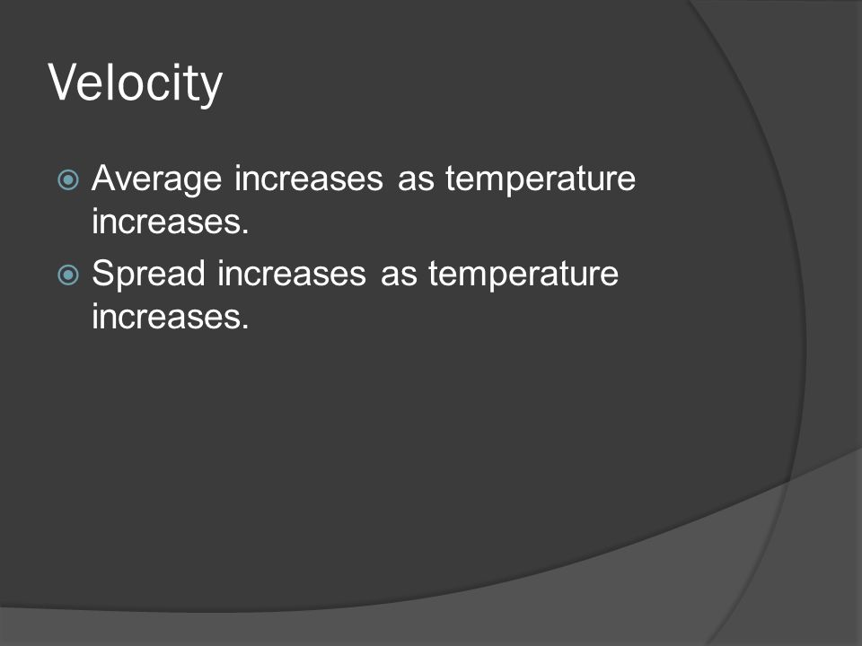 Velocity Average increases as temperature increases. Spread increases as temperature increases.