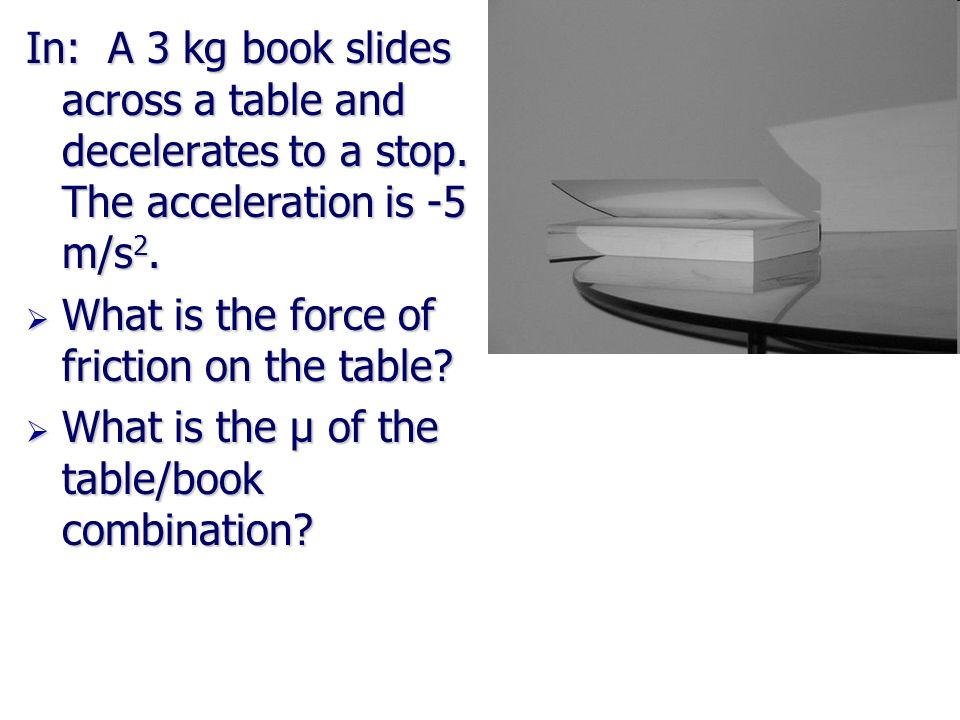 In: A 3 kg book slides across a table and decelerates to a stop. The acceleration is -5 m/s 2. What is the force of friction on the table? What is the