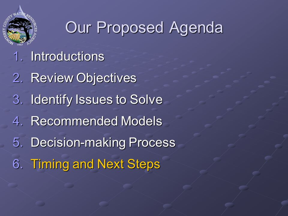 Our Proposed Agenda 1.Introductions 2.Review Objectives 3.Identify Issues to Solve 4.Recommended Models 5.Decision-making Process 6.Timing and Next Steps