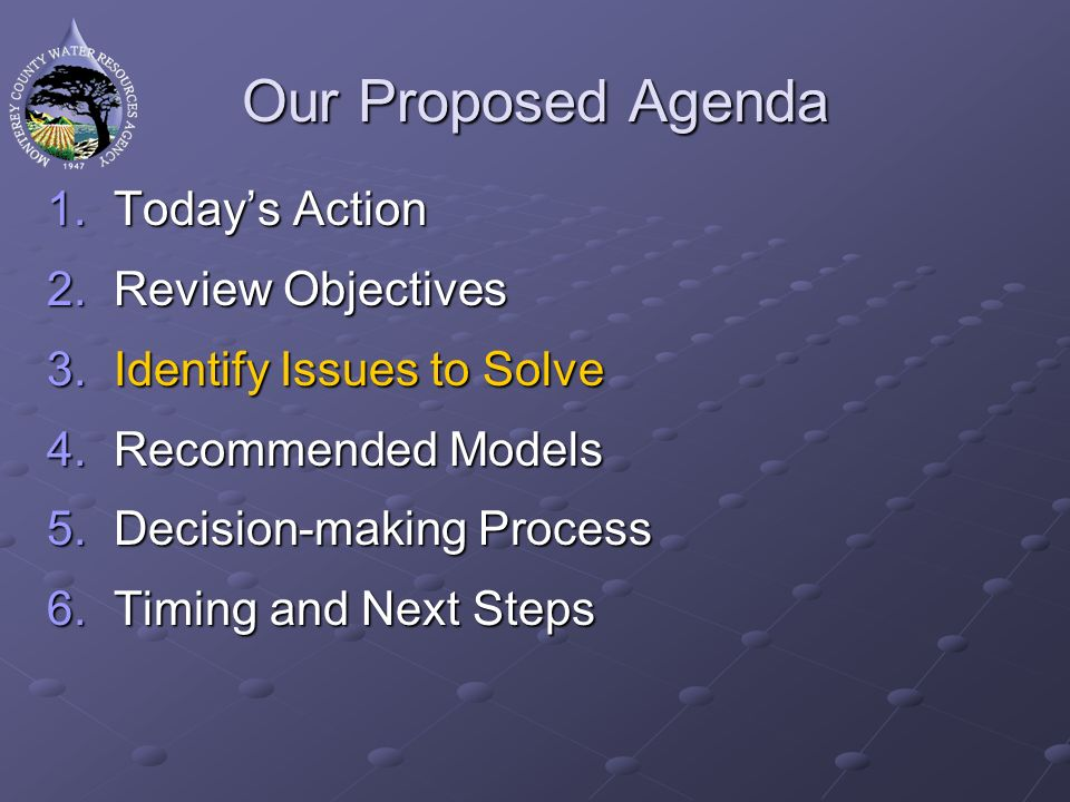 Our Proposed Agenda 1.Todays Action 2.Review Objectives 3.Identify Issues to Solve 4.Recommended Models 5.Decision-making Process 6.Timing and Next Steps