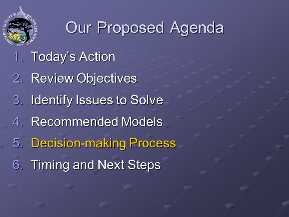 Proposed Process First seek approval at BOS Develop Agreement and information packet City and Agency approval