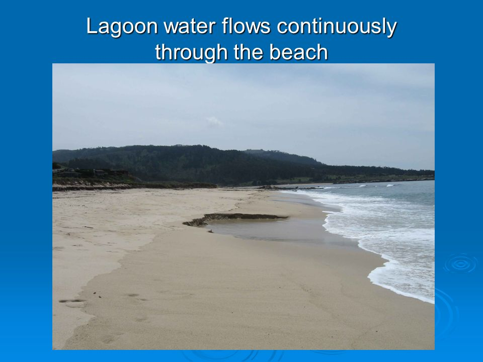 Lagoon water flows continuously through the beach