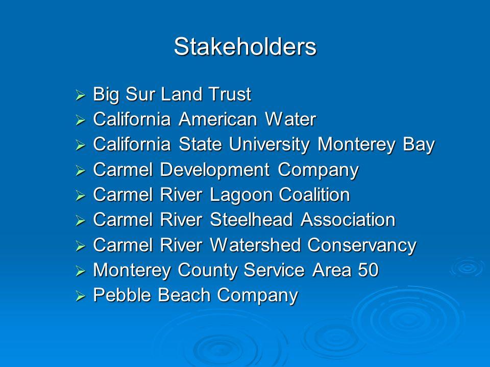 Stakeholders Big Sur Land Trust Big Sur Land Trust California American Water California American Water California State University Monterey Bay Califo