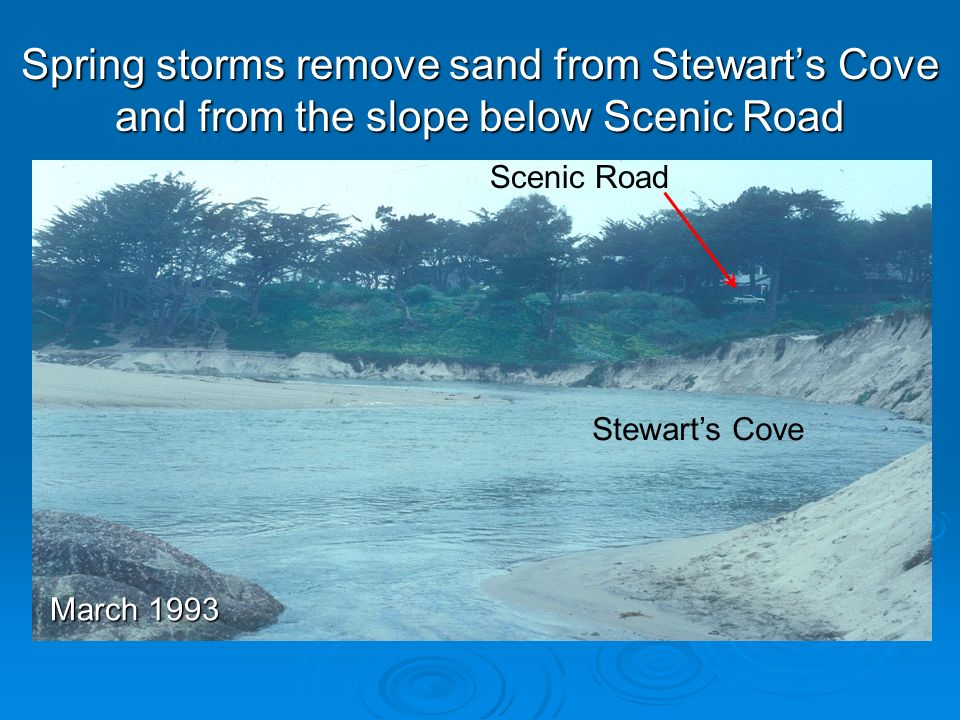 Spring storms remove sand from Stewarts Cove and from the slope below Scenic Road Scenic Road Stewarts Cove March 1993