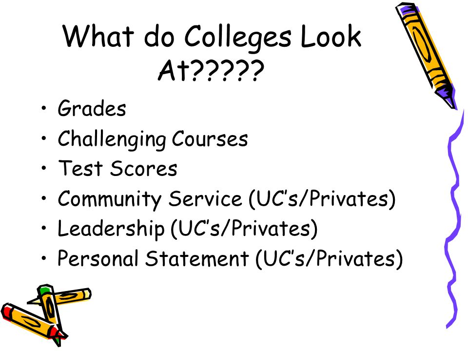 What do Colleges Look At????? Grades Challenging Courses Test Scores Community Service (UCs/Privates) Leadership (UCs/Privates) Personal Statement (UC