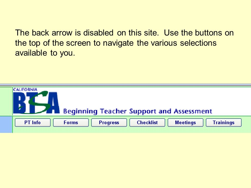The back arrow is disabled on this site.