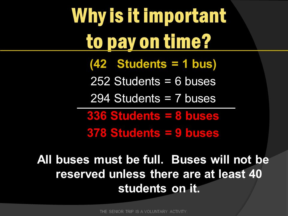 (42 Students = 1 bus) 252 Students = 6 buses 294 Students = 7 buses 336 Students = 8 buses 378 Students = 9 buses All buses must be full.