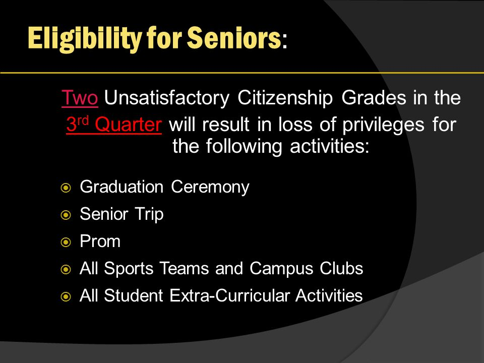 Eligibility for Seniors : Two Unsatisfactory Citizenship Grades in the 3 rd Quarter will result in loss of privileges for the following activities: Graduation Ceremony Senior Trip Prom All Sports Teams and Campus Clubs All Student Extra-Curricular Activities