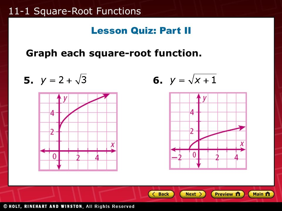 Lesson Quiz: Part II 5. Graph each square-root function. 6. 11-1 Square-Root Functions