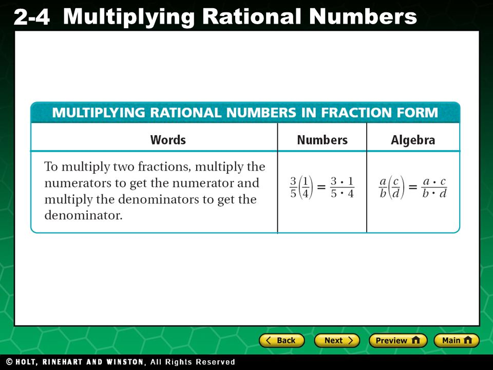 Evaluating Algebraic Expressions 2-4 Multiplying Rational Numbers