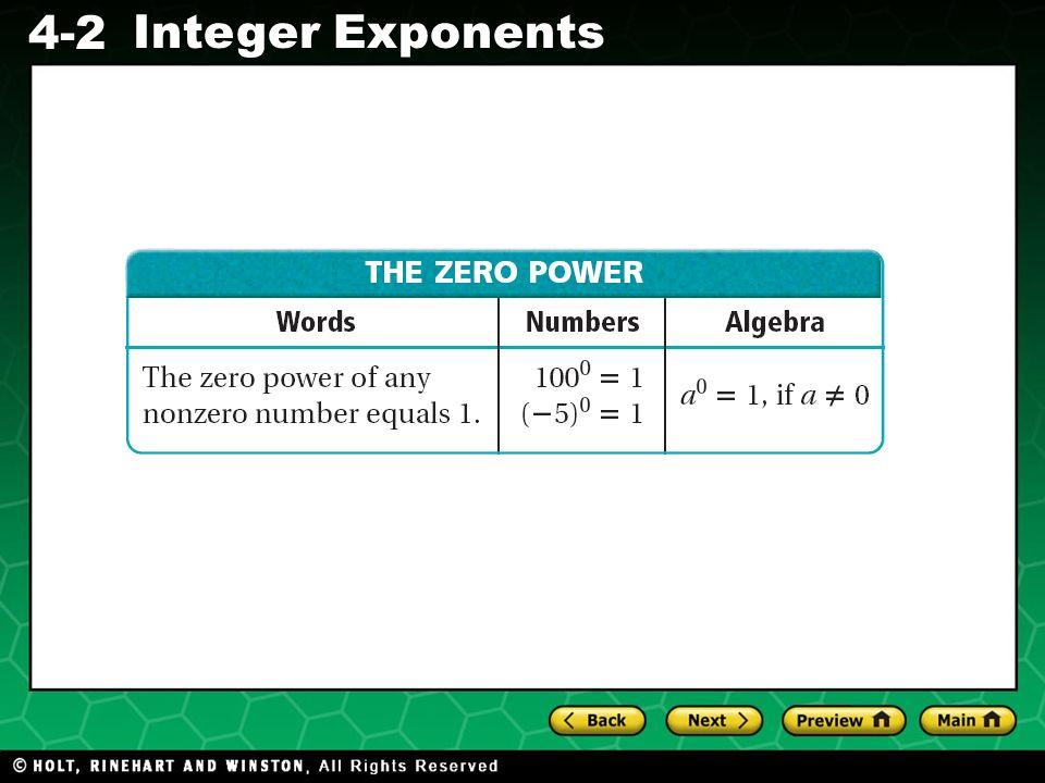 Evaluating Algebraic Expressions 4-2 Integer Exponents
