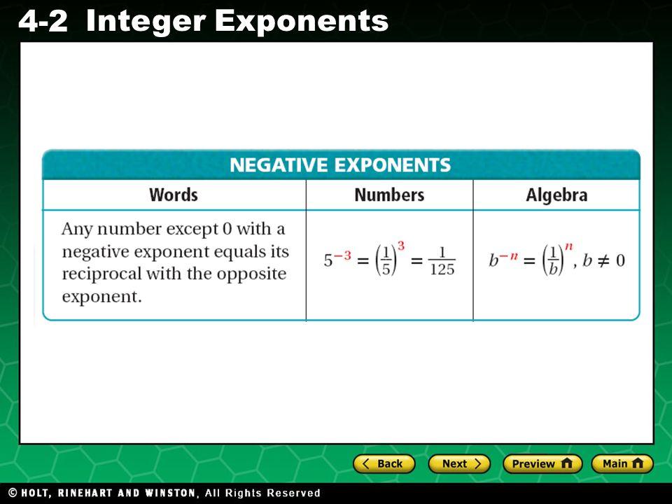 Evaluating Algebraic Expressions 4-2 Integer Exponents NEGATIVE EXPONENTS