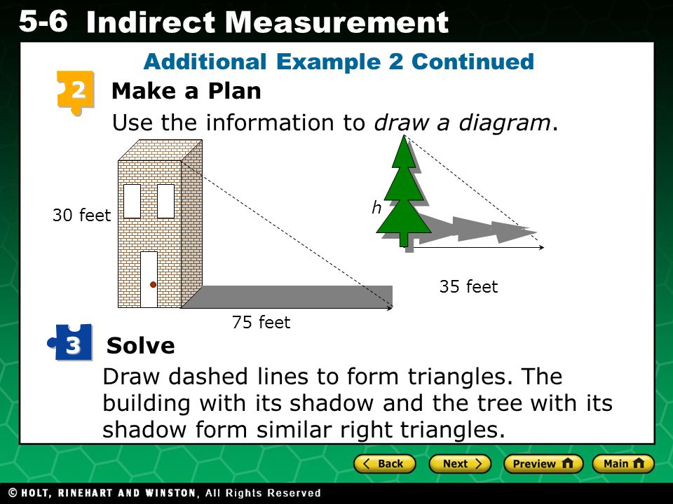 Evaluating Algebraic Expressions 5-6 Indirect Measurement Additional Example 2 Continued Use the information to draw a diagram. 2 Make a Plan Draw das