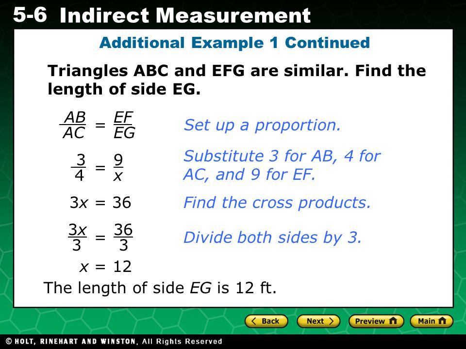 Evaluating Algebraic Expressions 5-6 Indirect Measurement 1.