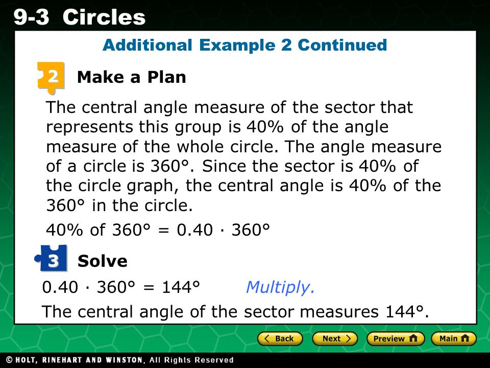 Holt CA Course 1 9-3Circles 2 Make a Plan The central angle measure of the sector that represents this group is 40% of the angle measure of the whole circle.