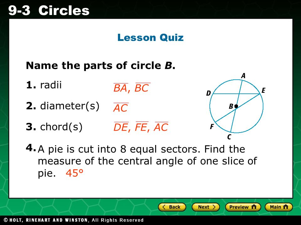 Holt CA Course 1 9-3Circles Lesson Quiz Name the parts of circle B.