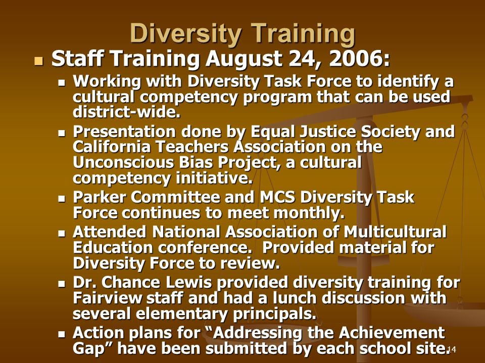 14 Diversity Training Staff Training August 24, 2006: Staff Training August 24, 2006: Working with Diversity Task Force to identify a cultural competency program that can be used district-wide.
