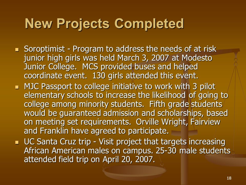18 New Projects Completed Soroptimist - Program to address the needs of at risk junior high girls was held March 3, 2007 at Modesto Junior College. MC