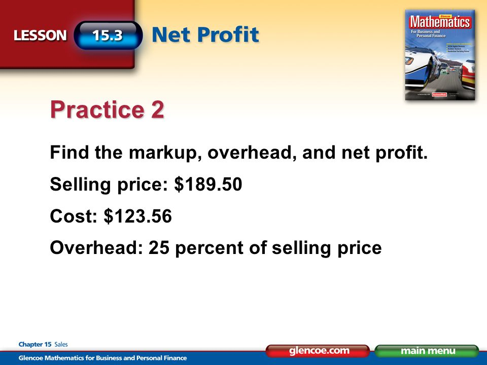 Find the markup, overhead, and net profit.