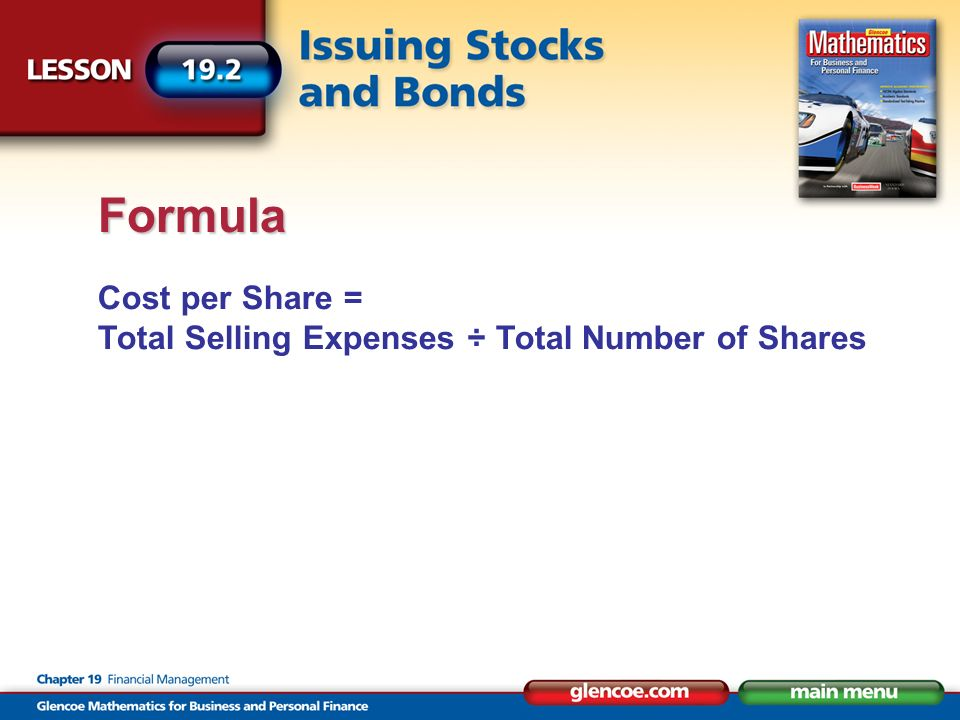 Formula Cost per Share = Total Selling Expenses ÷ Total Number of Shares