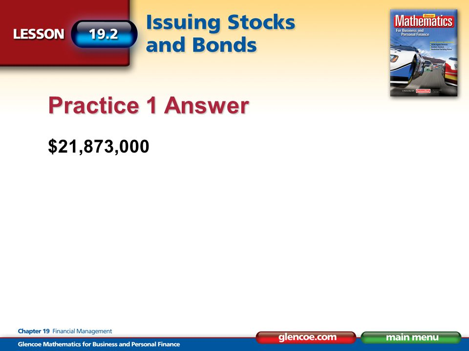 $21,873,000 Practice 1 Answer
