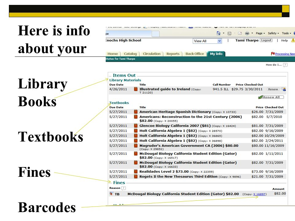 Here is info about your Library Books Textbooks Fines Barcodes
