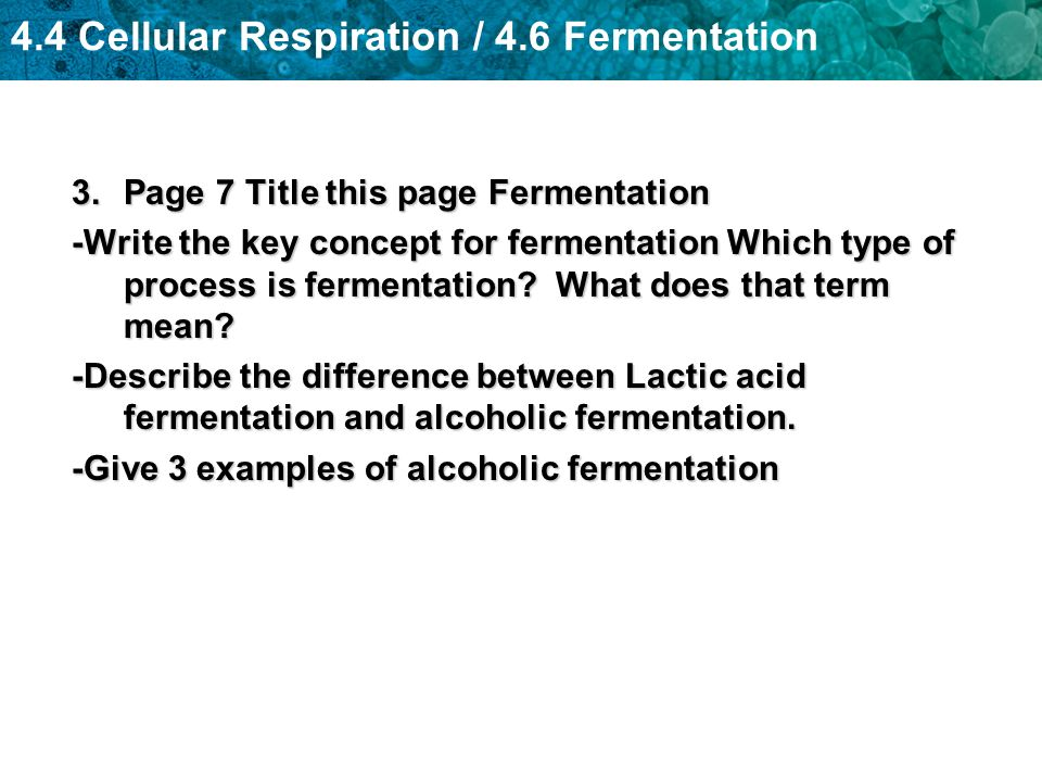 4.4 Cellular Respiration / 4.6 Fermentation 3.Page 7 Title this page Fermentation -Write the key concept for fermentation Which type of process is fer