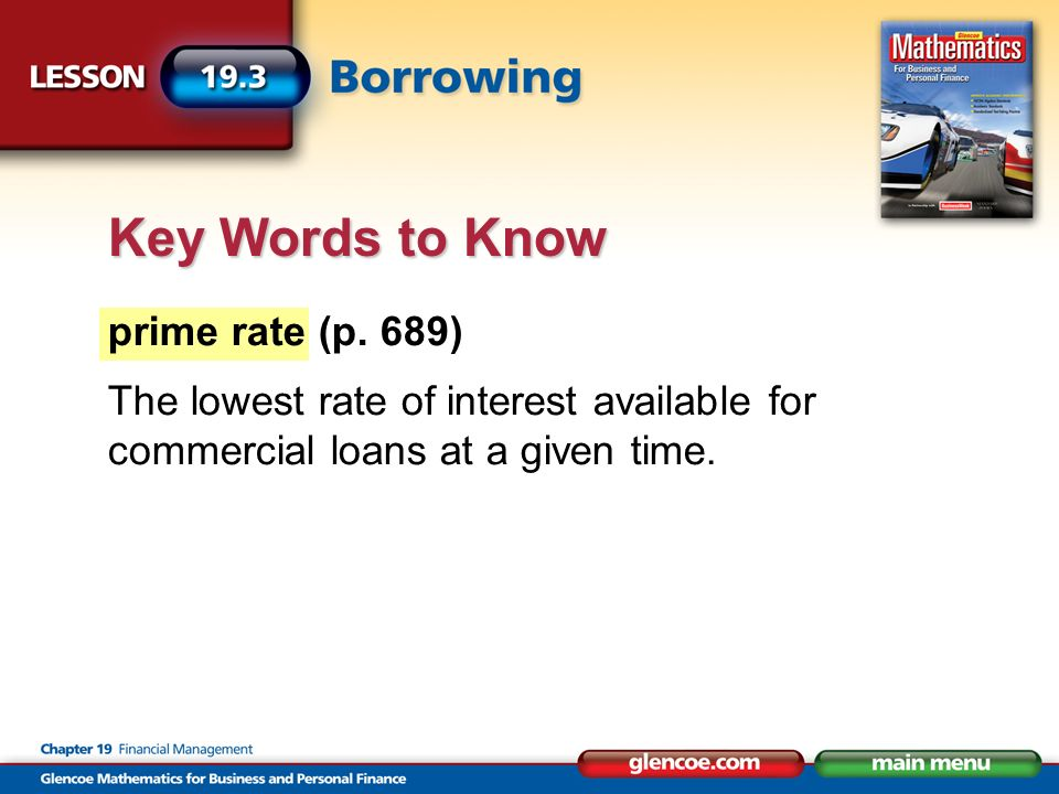 Key Words to Know prime rate (p.