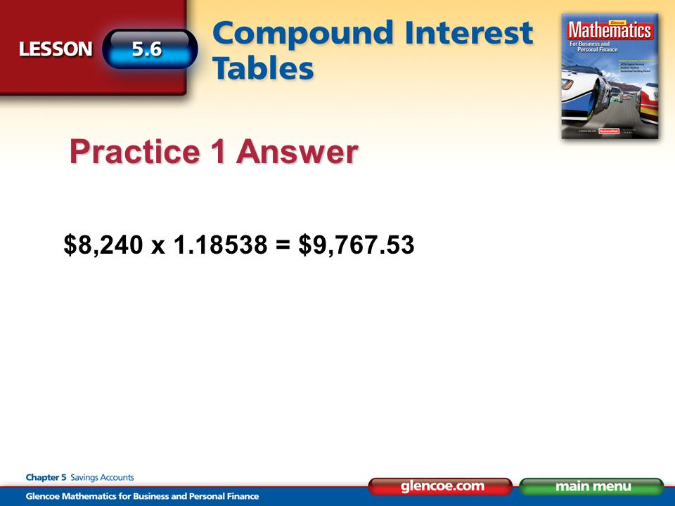 $8,240 x = $9, Practice 1 Answer