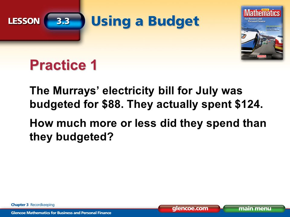 The Murrays electricity bill for July was budgeted for $88.