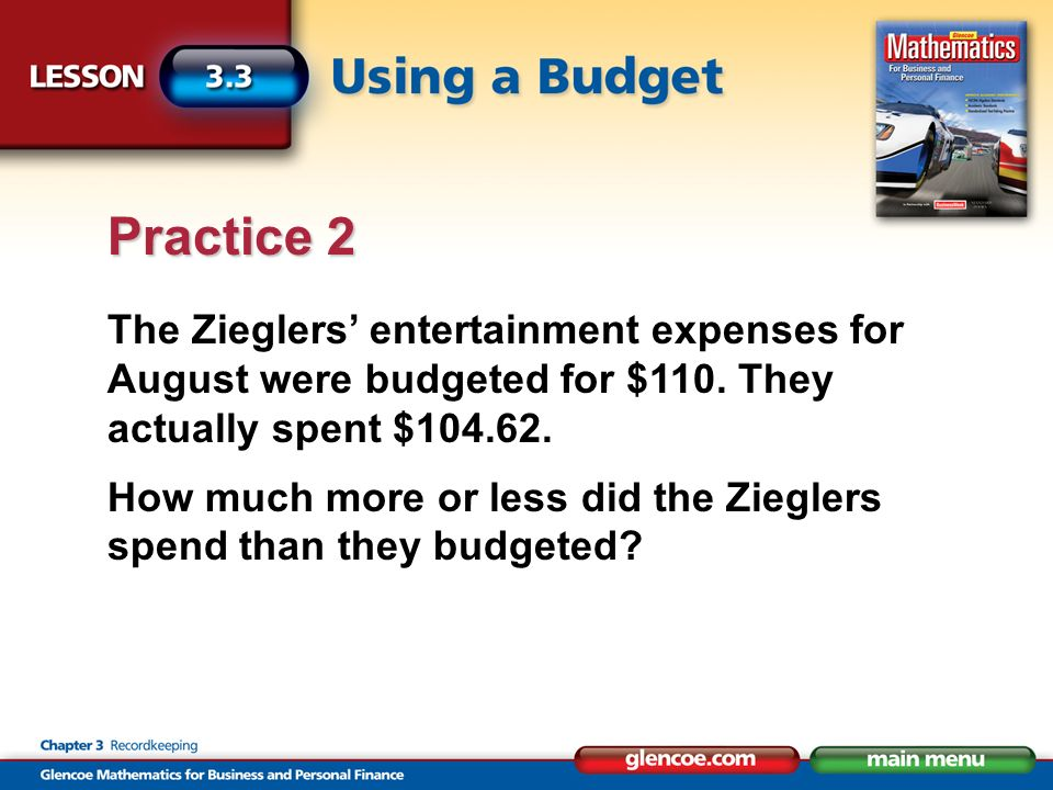 The Zieglers entertainment expenses for August were budgeted for $110.