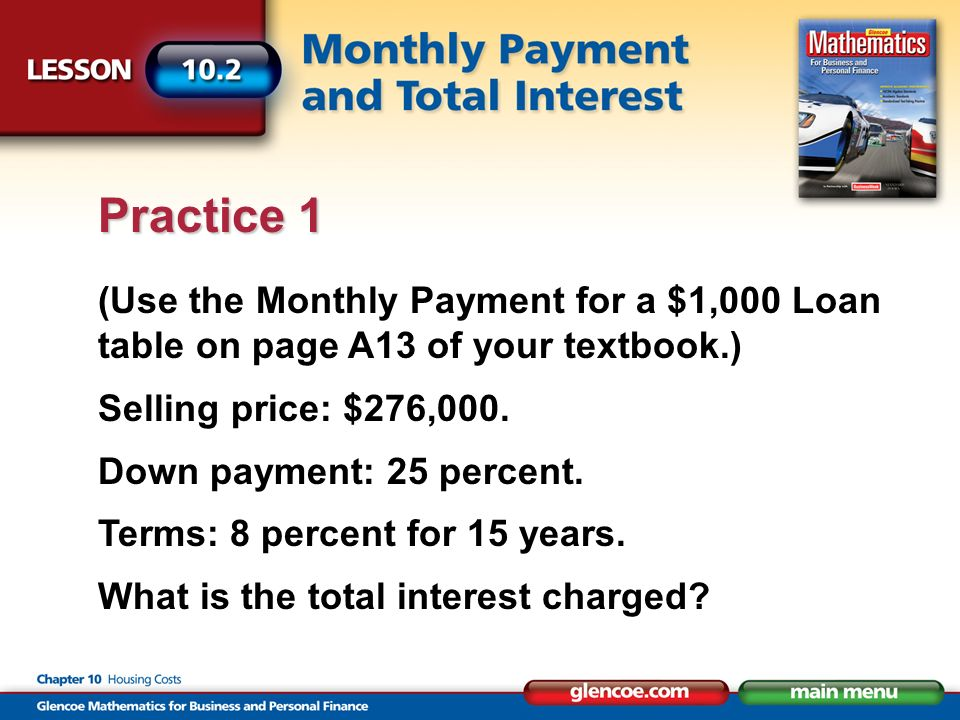(Use the Monthly Payment for a $1,000 Loan table on page A13 of your textbook.) Selling price: $276,000.