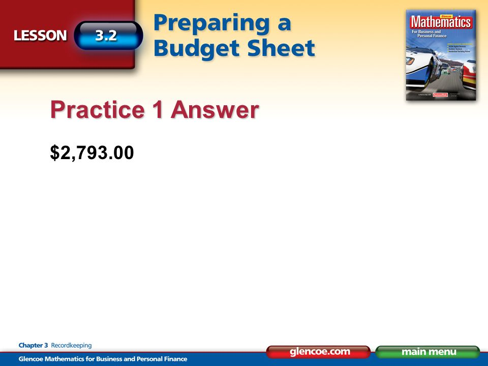 $2,793.00 Practice 1 Answer