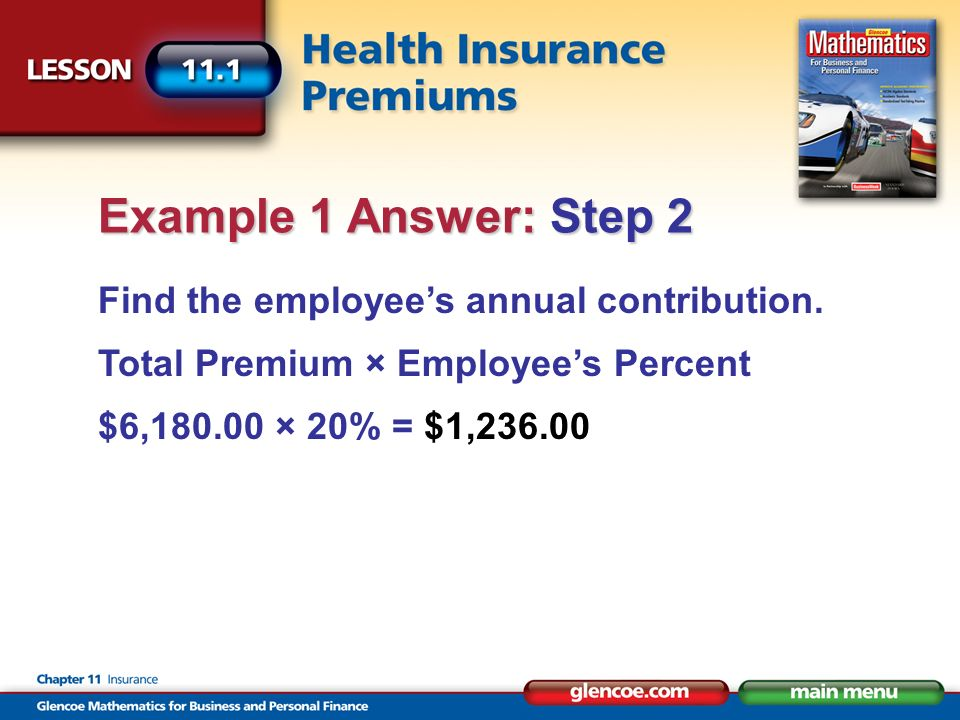 Find the employees annual contribution. Total Premium × Employees Percent $6,180.00 × 20% = $1,236.00 Example 1 Answer: Step 2
