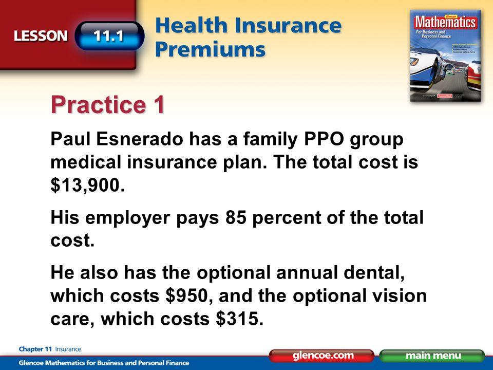 Paul Esnerado has a family PPO group medical insurance plan.