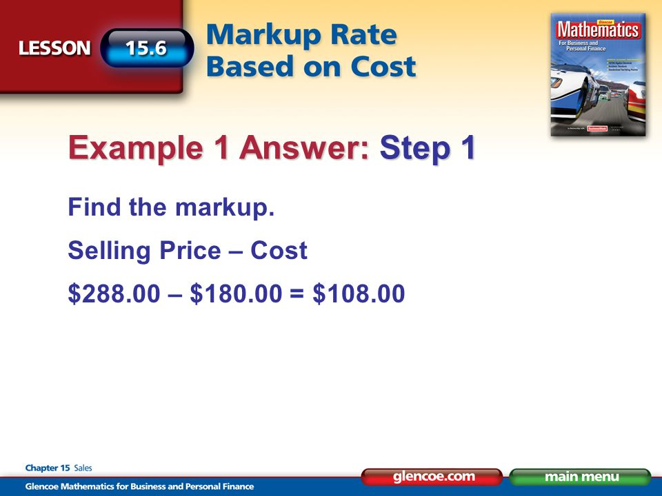 Find the markup rate based on cost.
