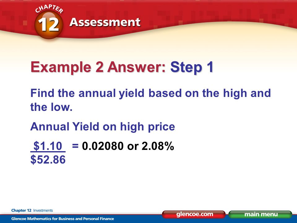 Find the annual yield based on the high and the low.