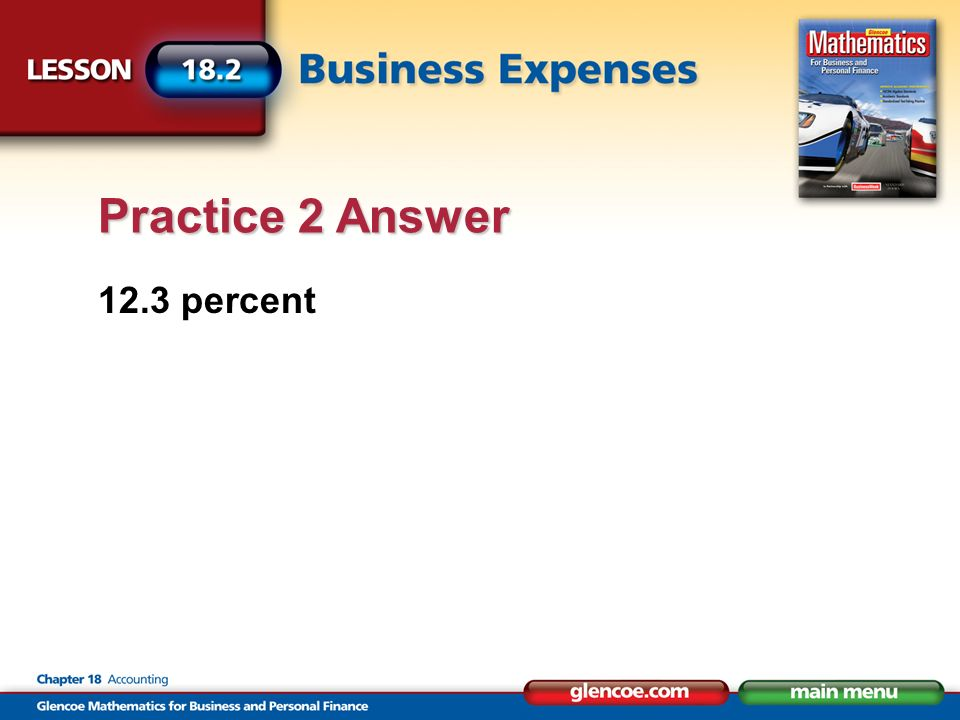 12.3 percent Practice 2 Answer