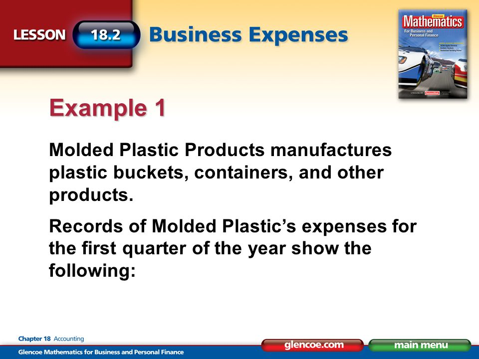 Molded Plastic Products manufactures plastic buckets, containers, and other products. Records of Molded Plastics expenses for the first quarter of the