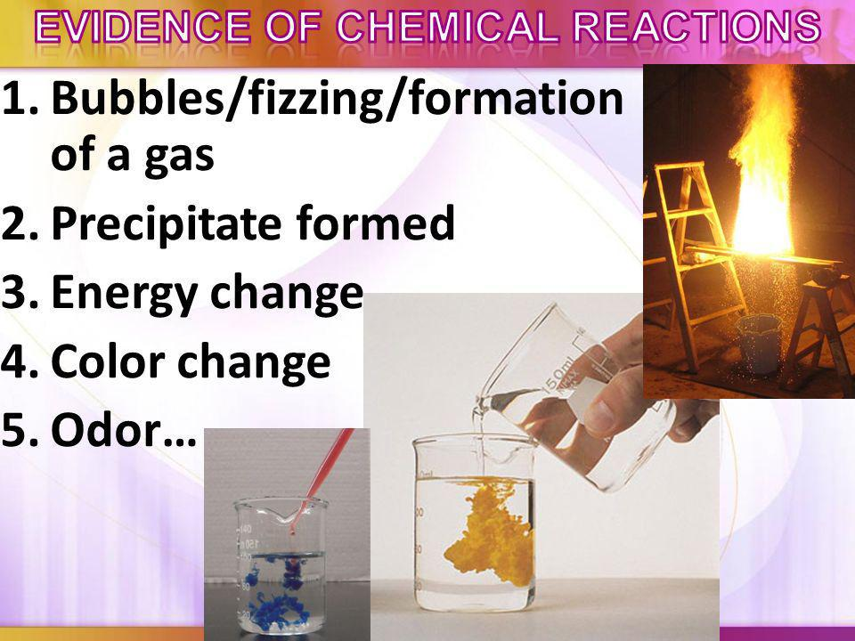 1.Formation of a gas 2.Reaction with acids (like this picture of copper reacting with nitric acid) 3.(Sometimes) a color change can indicate a chemica