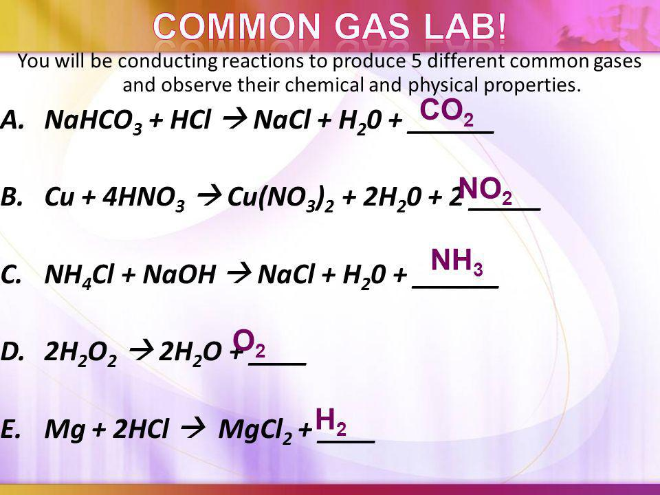 Label the following equations: (4types) (4types) 1.Zn + HCl ZnCl 2 + H 2 2. Fe + O 2 Fe 2 O 3 3. SiO 2 + HF SiF 4 + H 2 O 4. FeS + HCl H 2 S + FeCl 2