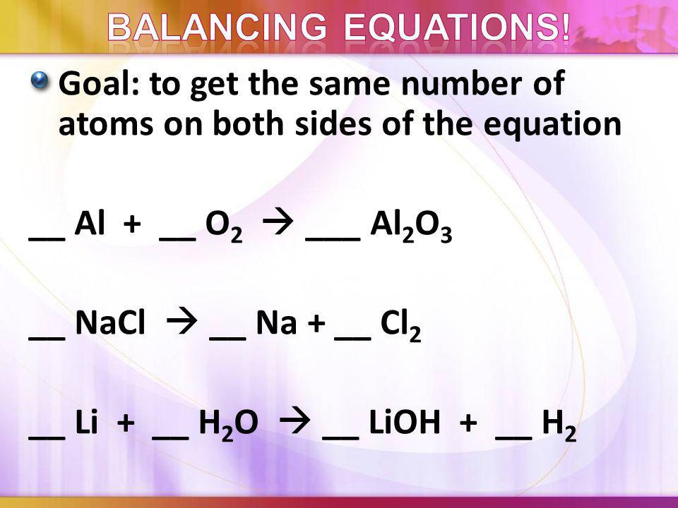 We use subscripts to balance compounds CaCl 2 subscripts cannot be changed We use coefficients to balance equations 2 NaCl + _ Ca(OH) 2 2 NaOH + __ Ca
