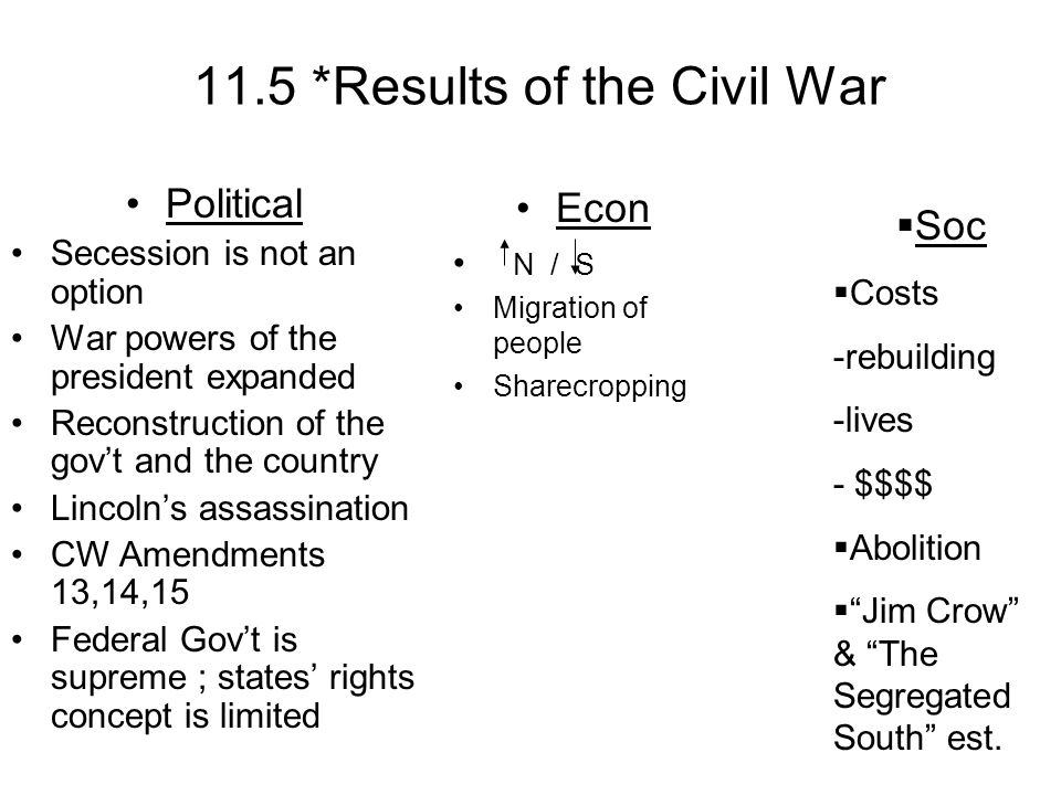 11.5 *Results of the Civil War Political Secession is not an option War powers of the president expanded Reconstruction of the govt and the country Li