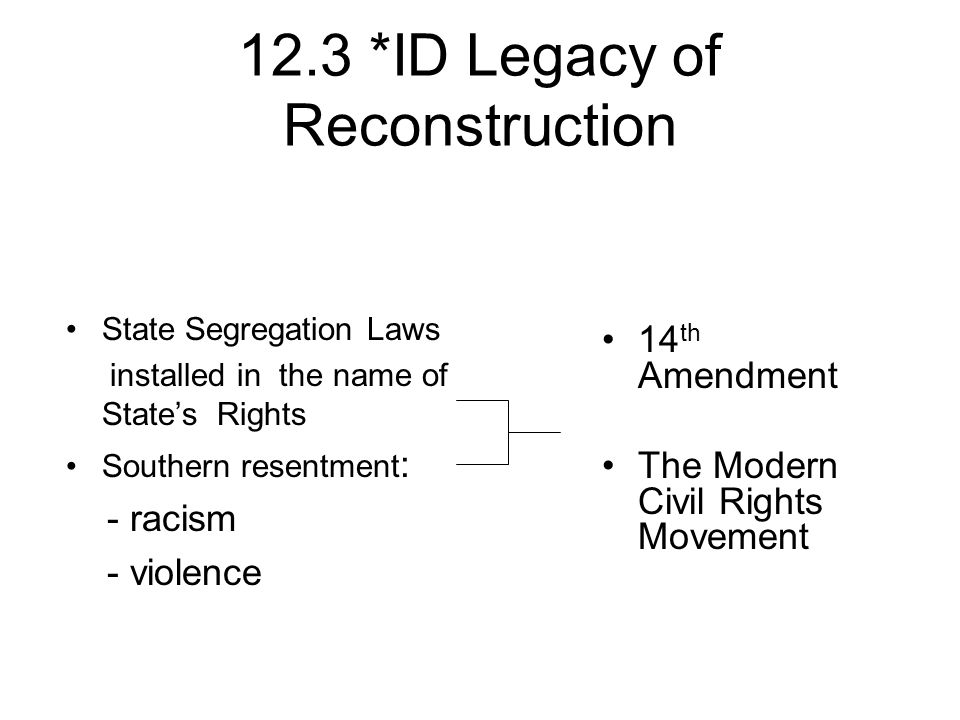 12.3 *ID Legacy of Reconstruction State Segregation Laws installed in the name of States Rights Southern resentment : - racism - violence 14 th Amendm