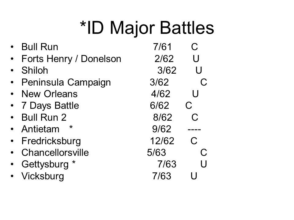 *ID Major Battles Bull Run 7/61 C Forts Henry / Donelson 2/62 U Shiloh3/62 U Peninsula Campaign 3/62 C New Orleans 4/62 U 7 Days Battle 6/62 C Bull Run 2 8/62 C Antietam* 9/62 ---- Fredricksburg 12/62 C Chancellorsville 5/63 C Gettysburg *7/63 U Vicksburg 7/63 U