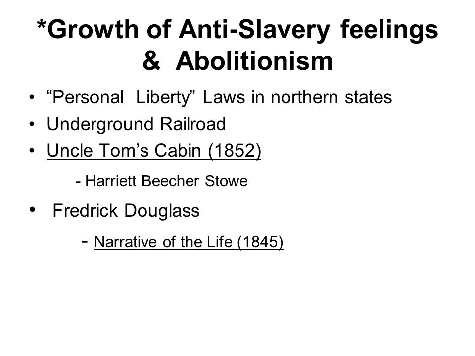 *Growth of Anti-Slavery feelings & Abolitionism Personal Liberty Laws in northern states Underground Railroad Uncle Toms Cabin (1852) - Harriett Beech