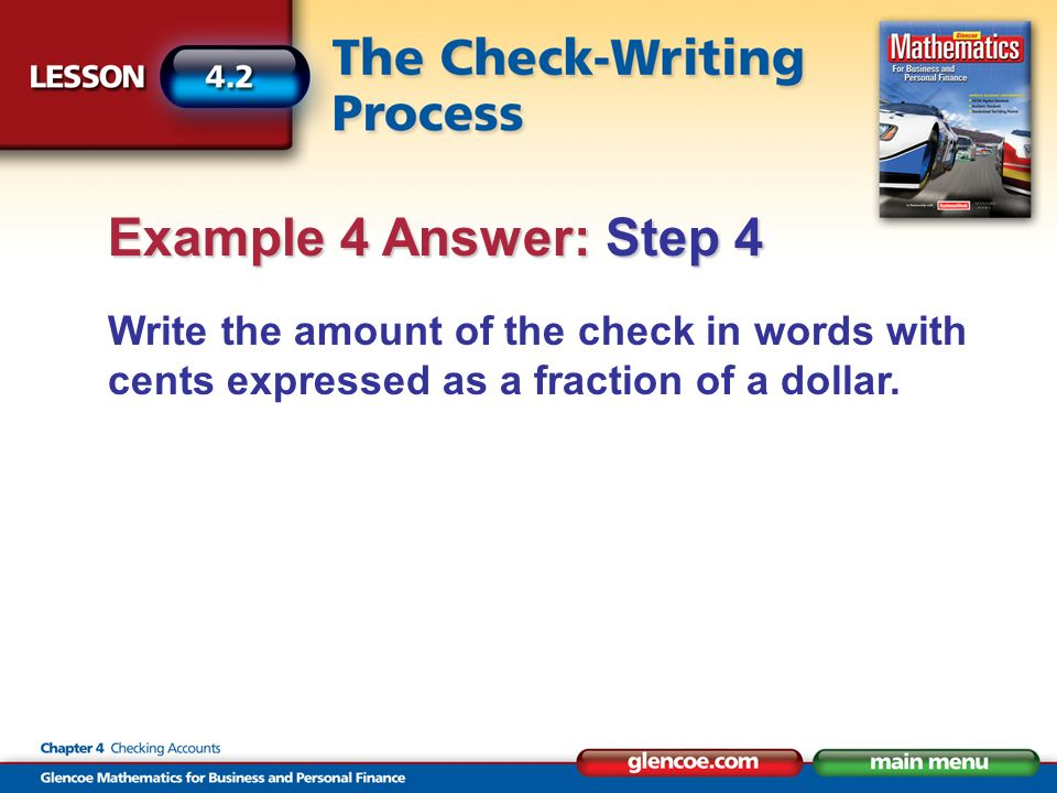 Write the amount of the check in words with cents expressed as a fraction of a dollar.
