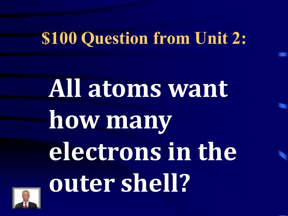 Jeopardy Unit 2: Atoms Unit 3: Matter Unit 4: Reactions Unit 5: Newton Unit 6 & 7: Energy Q $100 Q $200 Q $300 Q $400 Q $500 Q $100 Q $200 Q $300 Q $400 Q $500 Final Jeopardy
